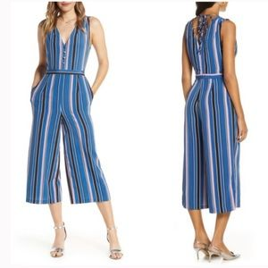Anthropologie Sleeveless Striped V-neck Jumpsuit